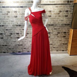 Terani Couture Dresses - Terani Couture Red Draped Backless Gown - size 4